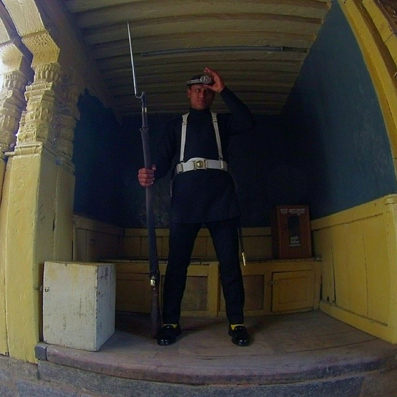 Say Hello Security of Durbar Square Kathmandu nepal gopro hero3
