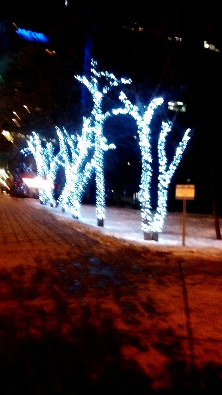 illuminated, night, text, communication, lighting equipment, no people, christmas decoration, snow, close-up, winter, cold temperature, outdoors, nature