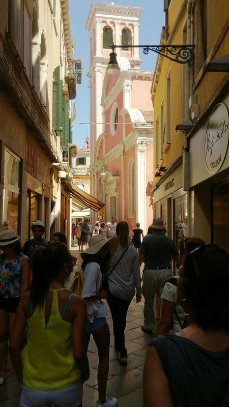 Street Photography Italy Summer Sunny Day Enjoying Life Best Place To Visit Cityscapes Architecture Travel Photography Travel Venezia Venice People People Walking  Church Pink Building Exploring The City Streets Exploring City Streets  Just Go Light And Shadow Natural Light Colorful
