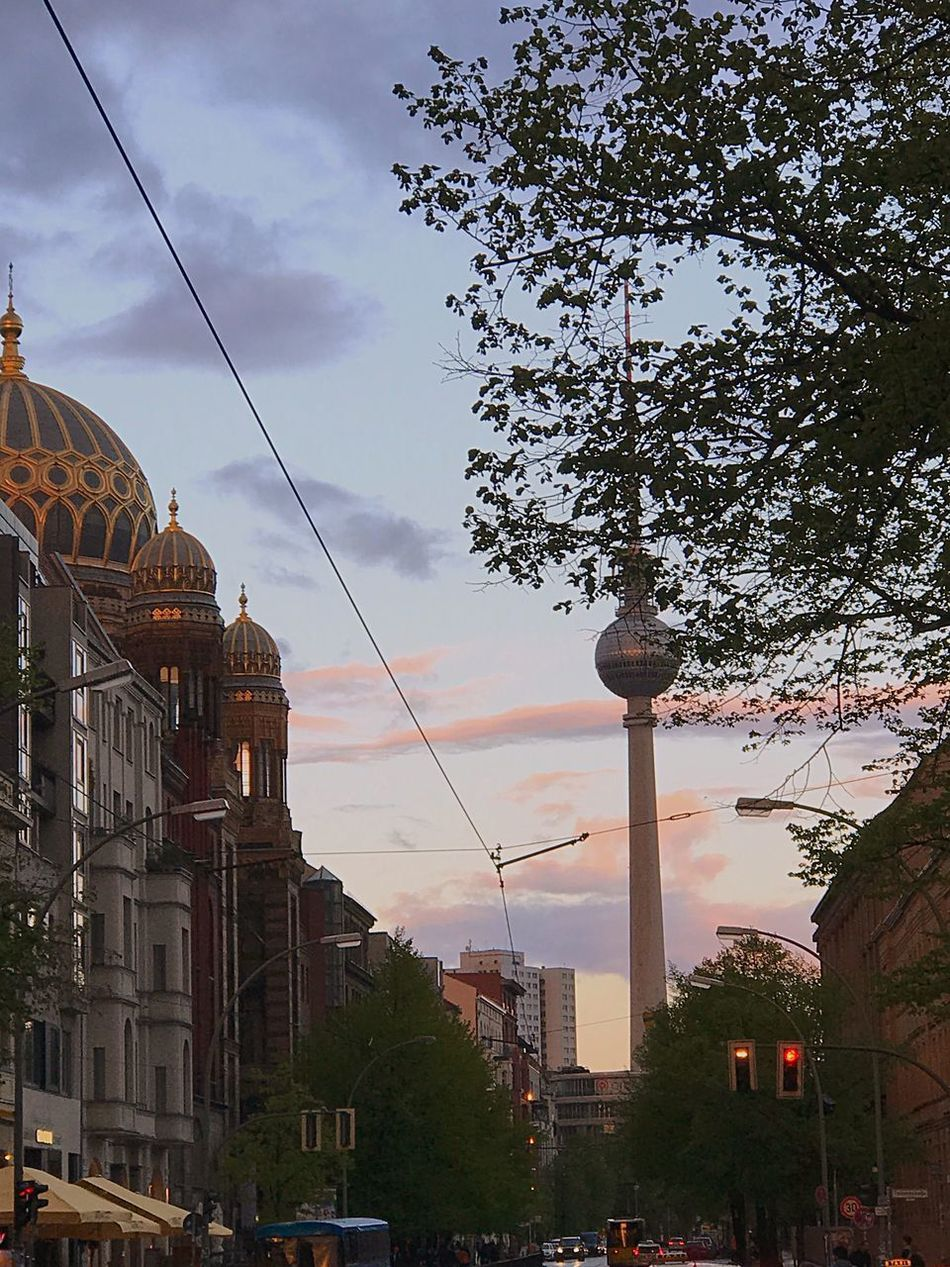 Architecture Dome Travel Destinations Sky Television Tower Building Exterior Tourism City Cloud - Sky Outdoors Buildings Building Clouds And Sky Germany Berlin Spree Synagogue Fernsehturm Fernsehturm Berlin  Tvtower Streetphotography Street Sunset Cloud Clouds