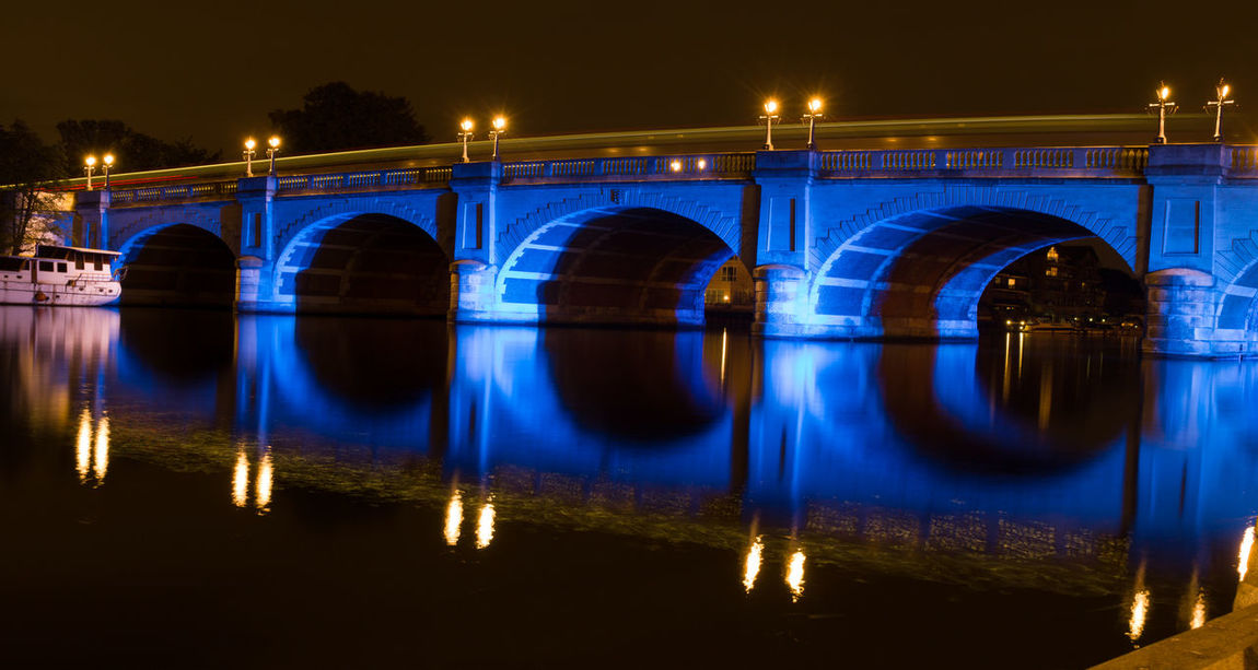 Arch Architecture Bridge - Man Made Structure Built Structure City Connection Illuminated Kingston Bridge Long Exposure Night No People Outdoors Reflection River Symmetry Water