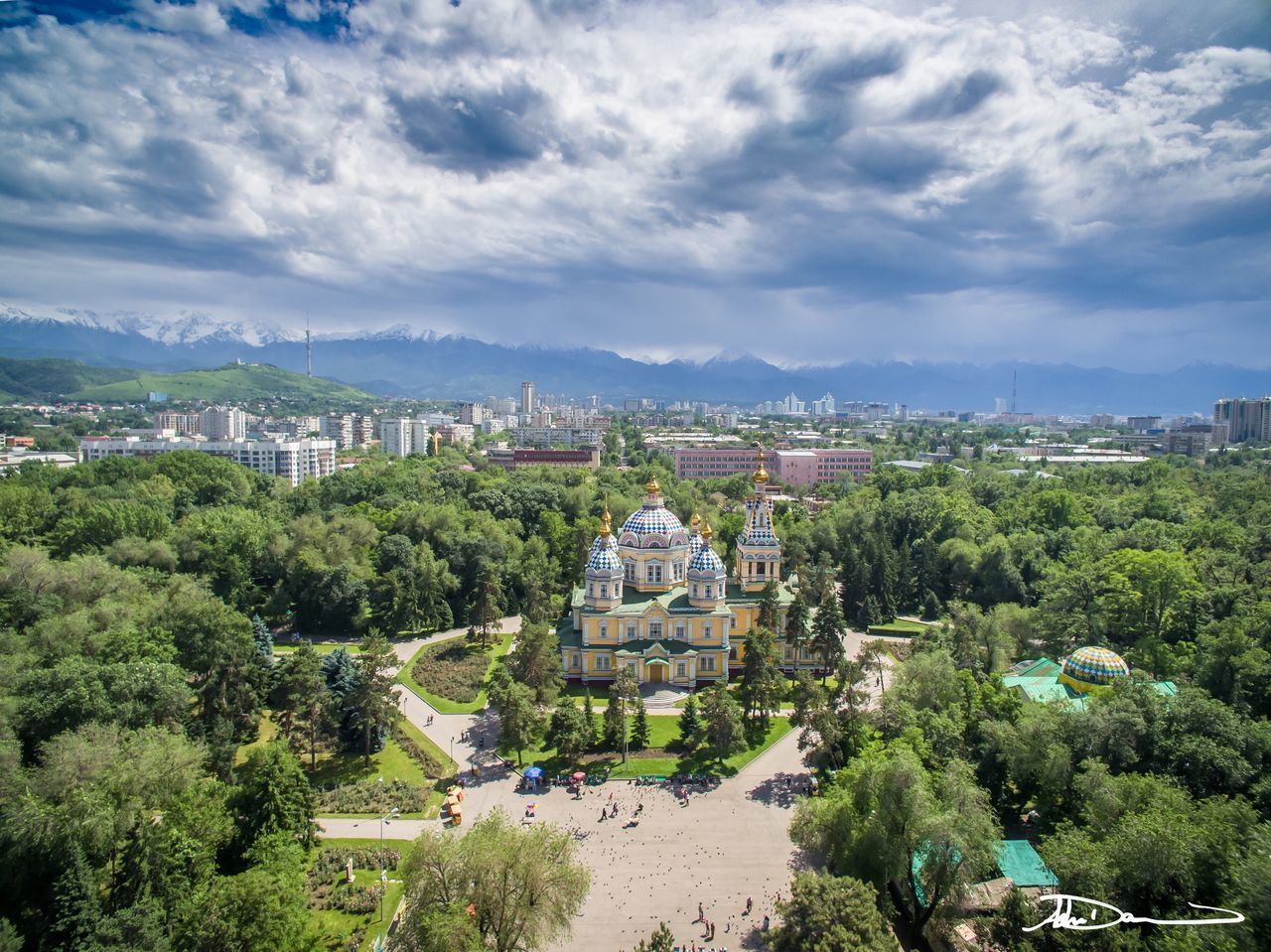 Kazakhstan Architecture Church Almaty Building Exterior High Angle View Dronephotography