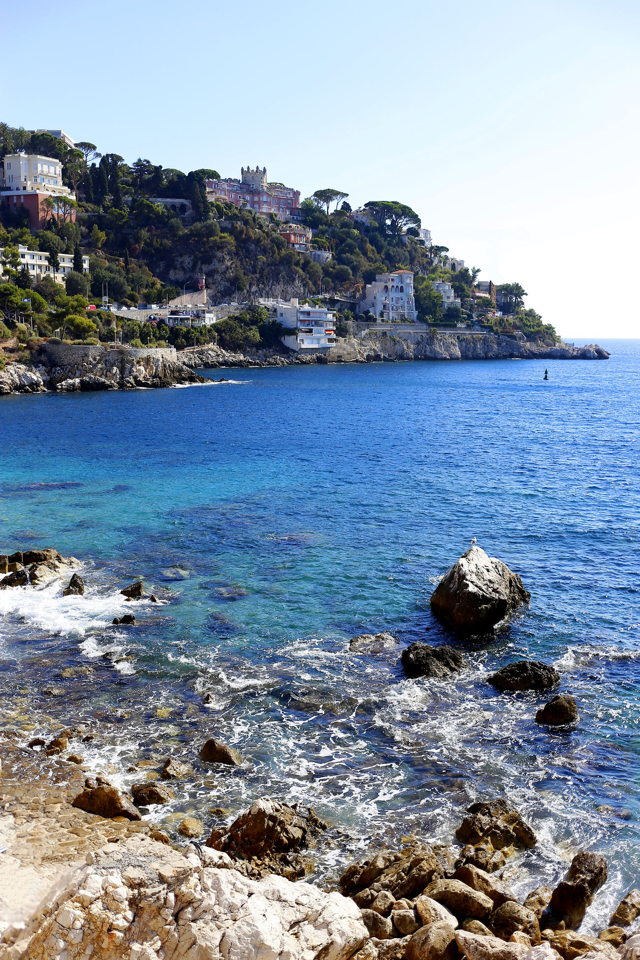 Azul Beach Blue Clear Sky France Nature Nice No People Outdoors Rock Rock - Object Sea Sky Traveling Water