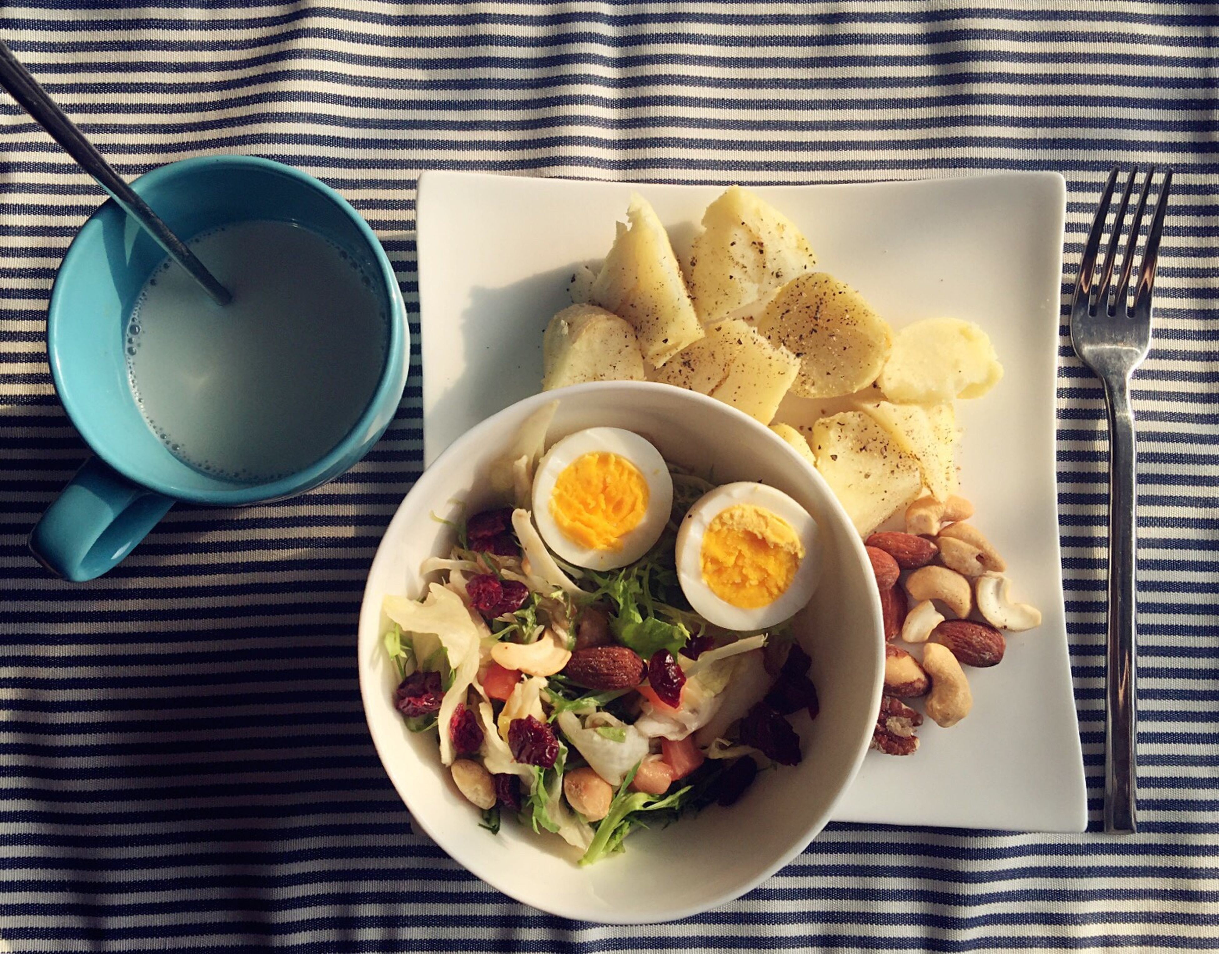 food and drink, food, freshness, plate, table, indoors, ready-to-eat, healthy eating, still life, bowl, serving size, meal, high angle view, directly above, fork, spoon, drink, served, breakfast, salad