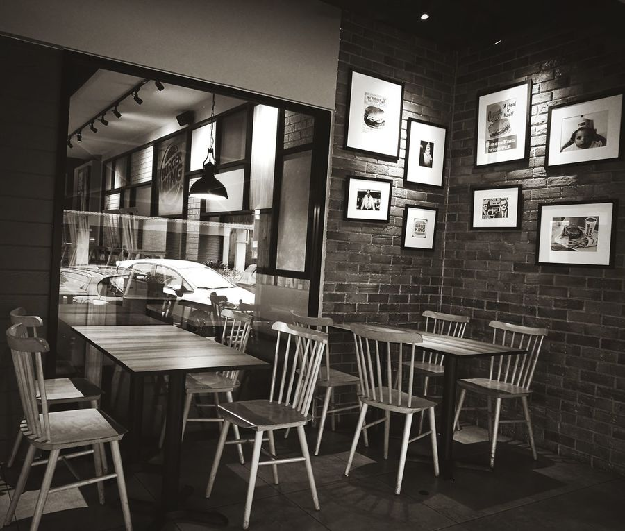 Coffee, tea? Chair Table Window Indoors  No People Brick Wall Architecture Domestic Room Day Restaurant Cafe Coffee Break Coffee Time Relax Window View Windows Window Reflections Wall Decoration Wall Decor Photo Frames Photo Frame Black And White Photo EyeEmNewInHere Morning Walk