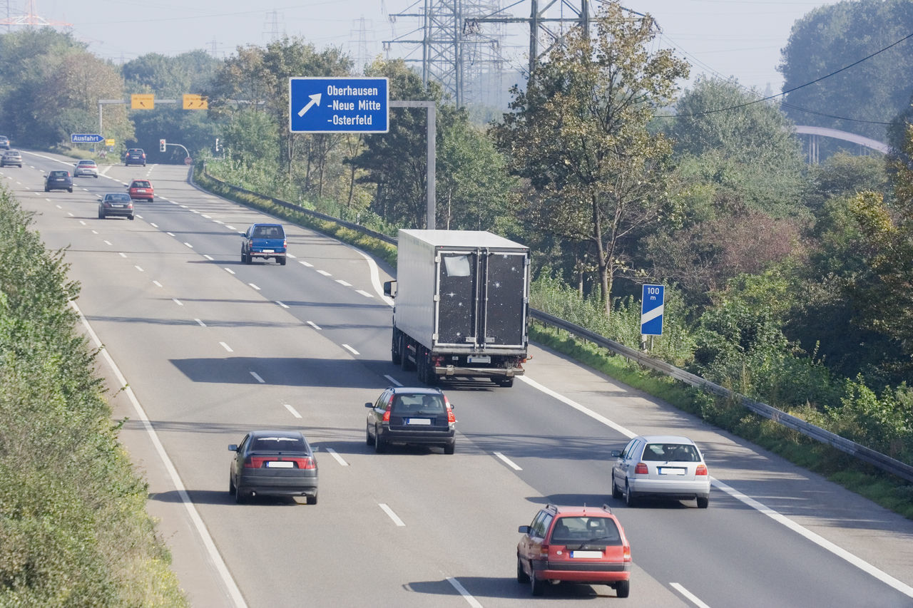 rush hour on a highway near an exchange - autobahn in oberhausen, germany A42 Air Pollution Autobahn Car Driving Emission Germany Highway Highways&Freeways Land Vehicle Mode Of Transport Moving Multiple Lane Highway NRW Oberhausen Pollution Road Road Sign Ruhrgebiet Rush Hour Speed Traffic Transit Transportation Truck
