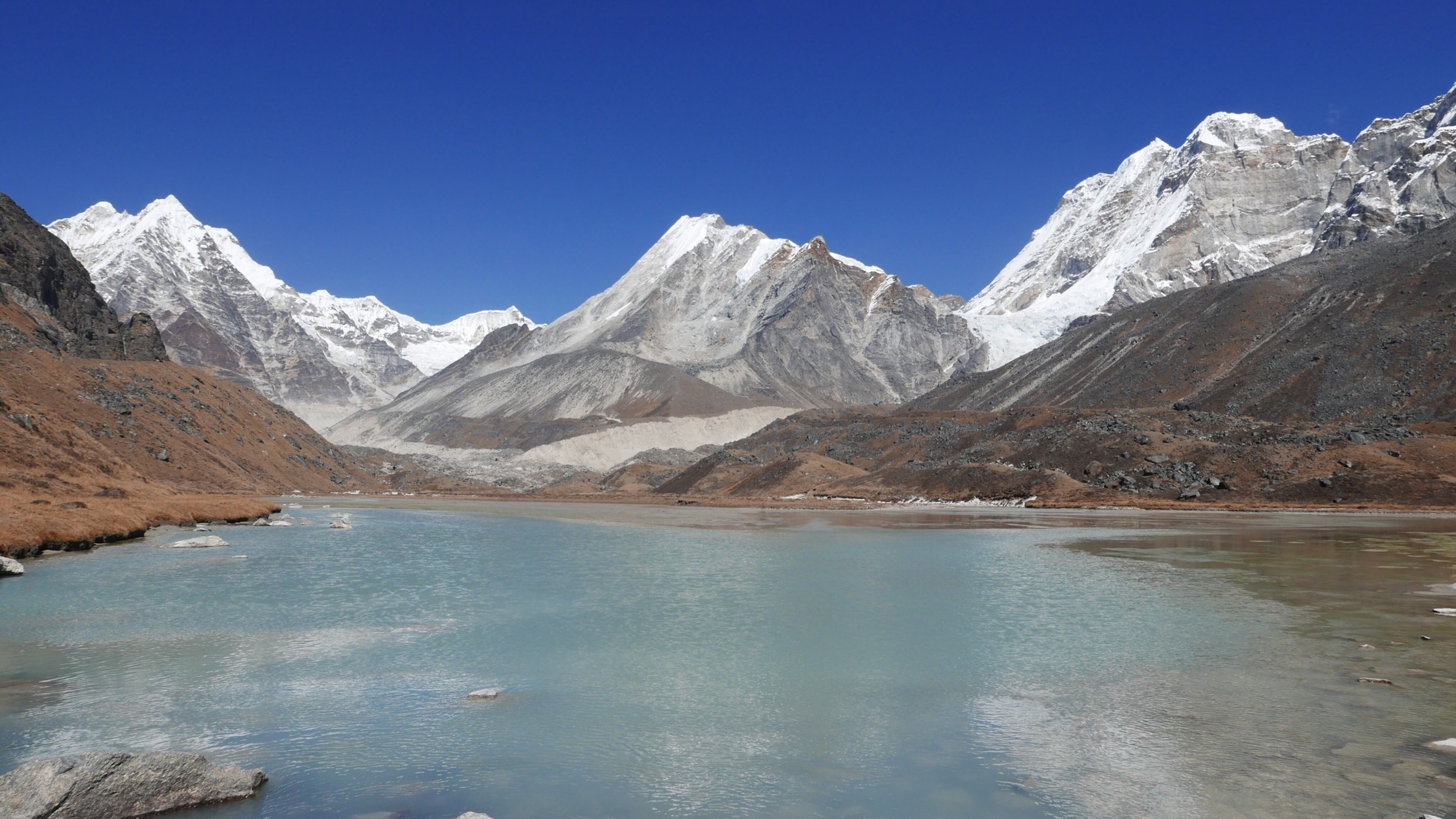 snow, winter, mountain, cold temperature, season, snowcapped mountain, mountain range, tranquil scene, tranquility, scenics, beauty in nature, lake, water, clear sky, blue, frozen, nature, weather, non-urban scene, idyllic