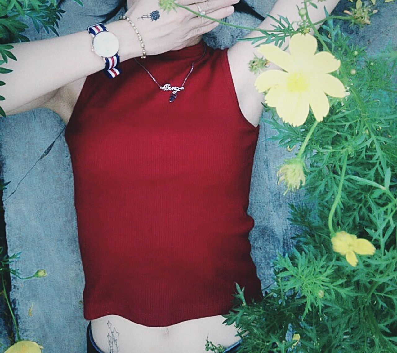 flower, outdoors, one person, midsection, day, plant, real people, red, close-up, nature, human body part, human hand, women, people