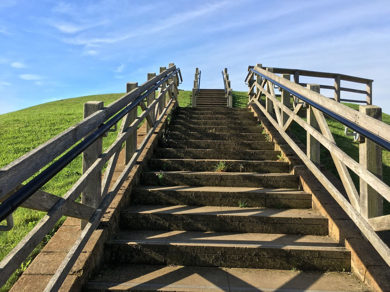StairwaytoHeaven Steps Going Up Towcester Steps Railing Steps And Staircases Staircase The Way Forward Low Angle View Sky Cloud Outdoors Day Scenics Tranquil Scene Diminishing Perspective Tranquility Bannister