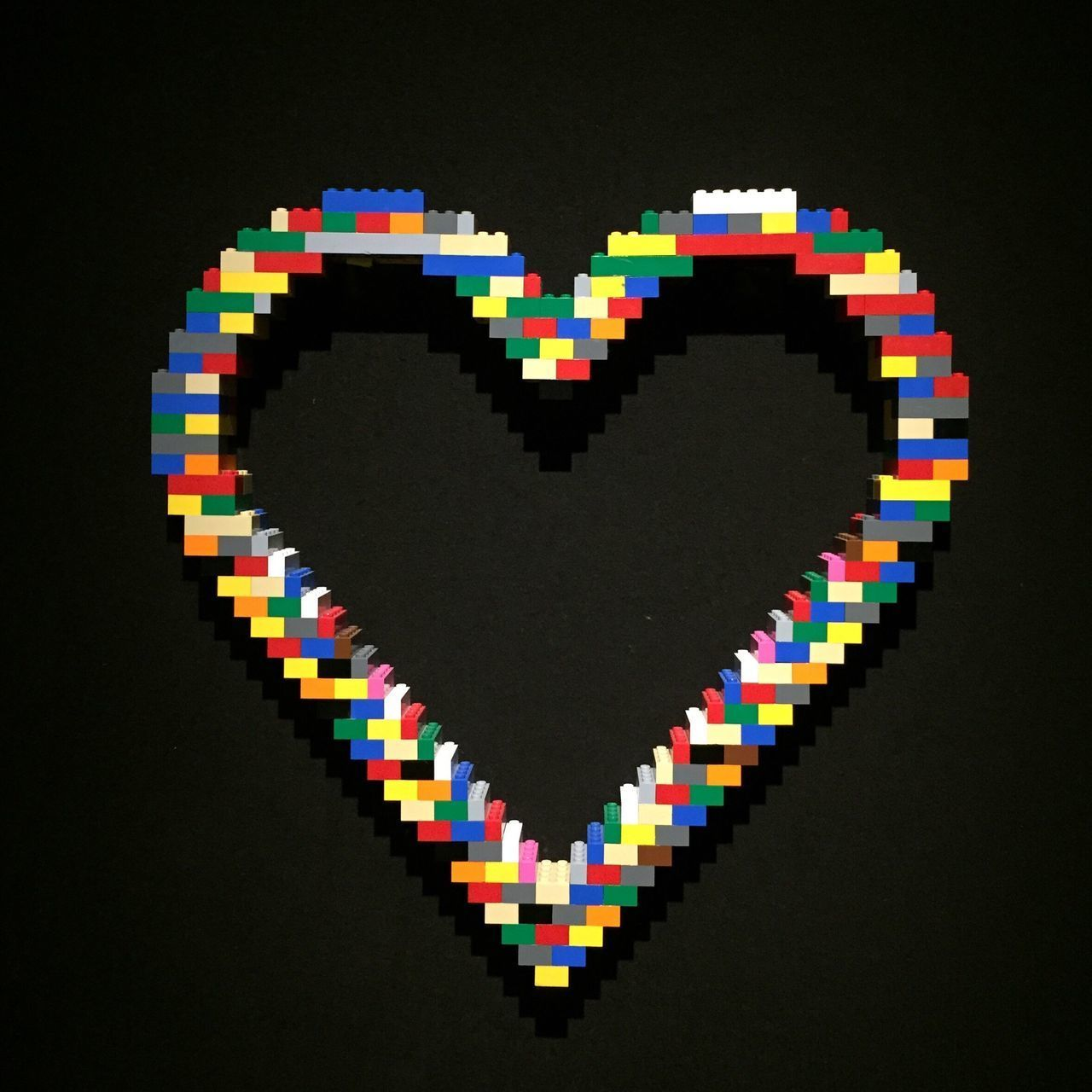 LEGO are Fun 😄 Multi Colored Black Background Large Group Of Objects Studio Shot No People Close-up Paper Indoors  Color Swatch Day Heart Art Love Colorful Streamzoofamily Bricks Heart Shape Colors No Edit/no Filter