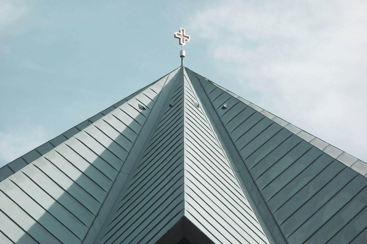 Architecture Church Façade Geometry Low Angle View Modern Architecture Religion Simplicity Sky