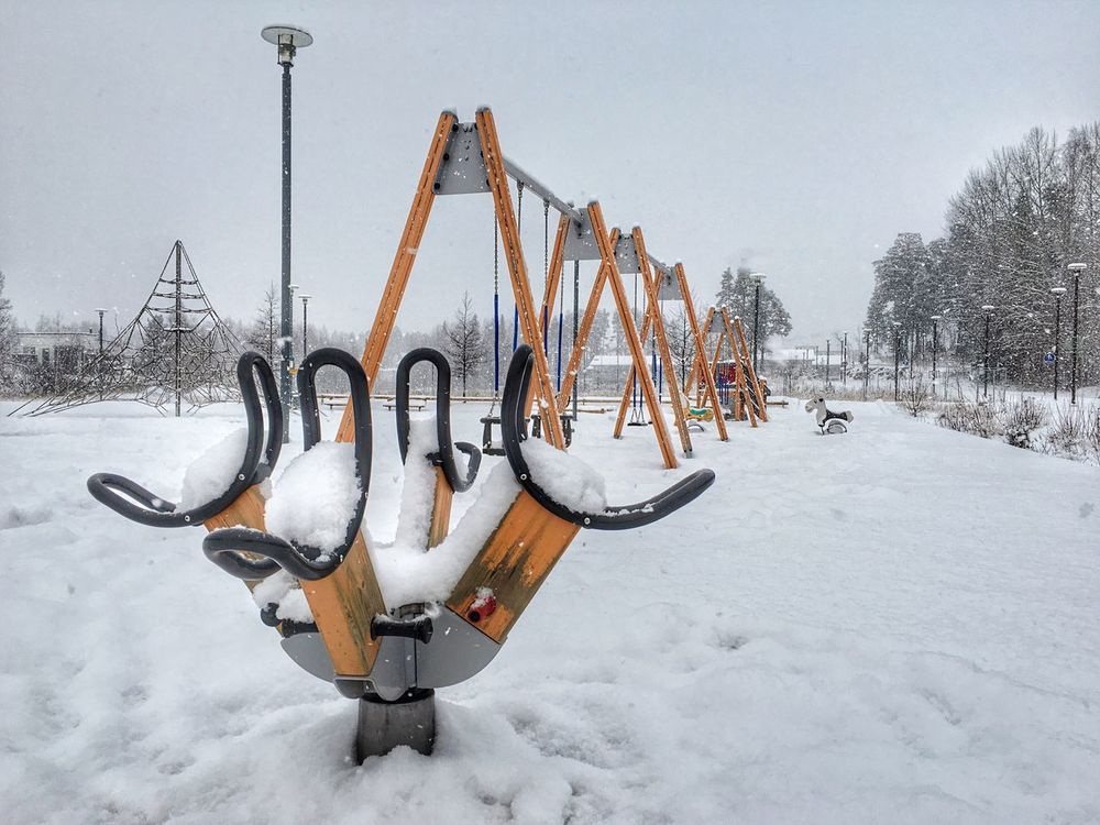 Empty playground It's Cold Outside Winterscapes Finland Snow Winter Cold Winter Day IphonePhotography, Outdoors Winter Espoo Playground Espoo Saunalahti Snowfall