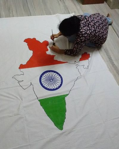 In our Lane we Celebrate our republic day .....my Mom was making this Tricoloured Map of India ....... Happy Republic Day ... Indians  ASIA Country Proud Whpvibrant