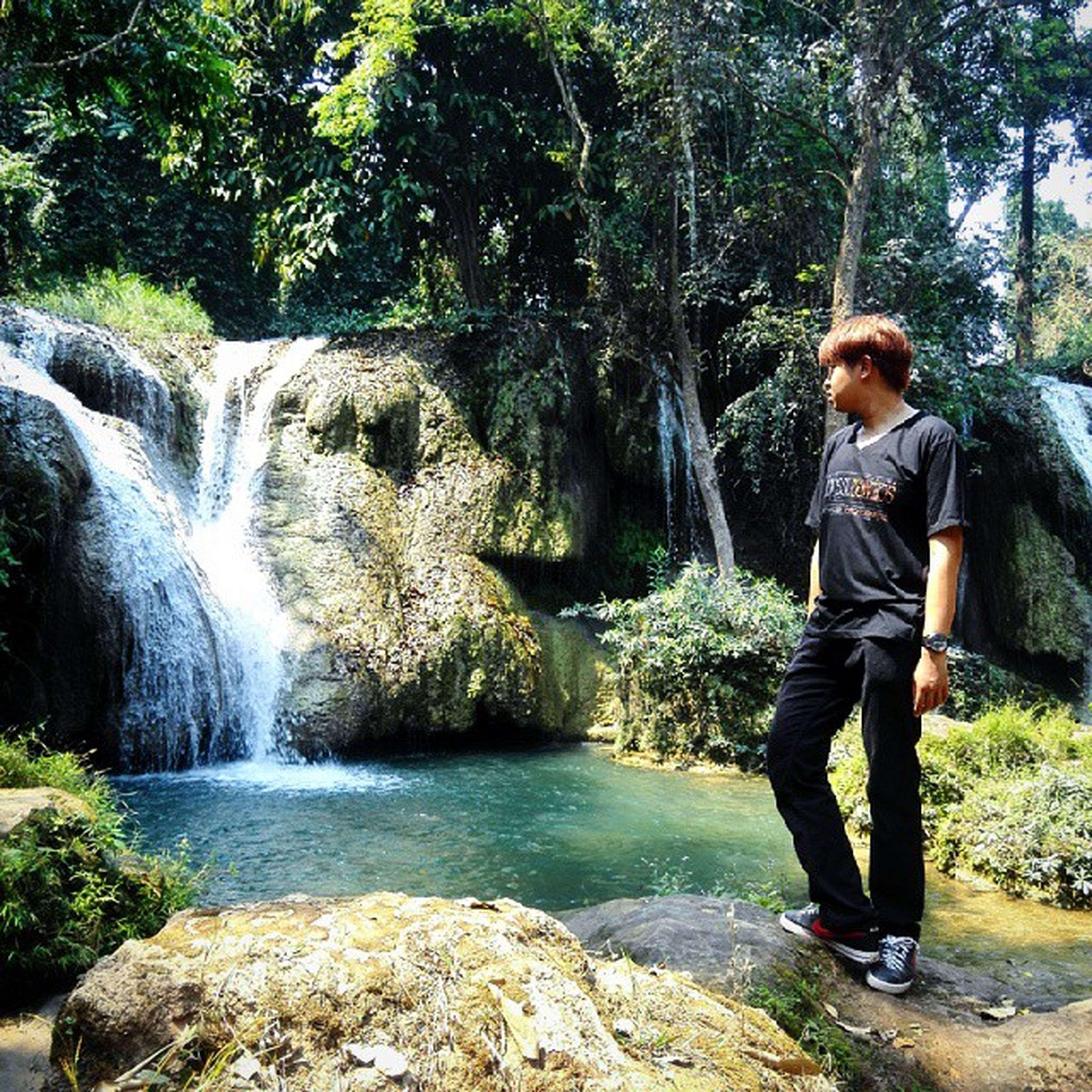 lifestyles, full length, leisure activity, water, casual clothing, tree, rock - object, rear view, forest, standing, nature, beauty in nature, men, day, waterfall, tranquility, vacations, river