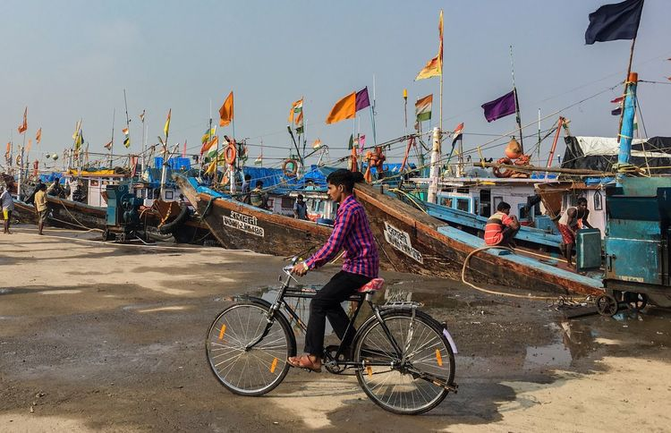 Versova  Mumbai Transportation Mode Of Transport Bicycle Real People Outdoors Men Day Nautical Vessel Women One Person Occupation Sky Architecture Adult Nature City Adults Only People EyeEmNewHere Connected By Travel