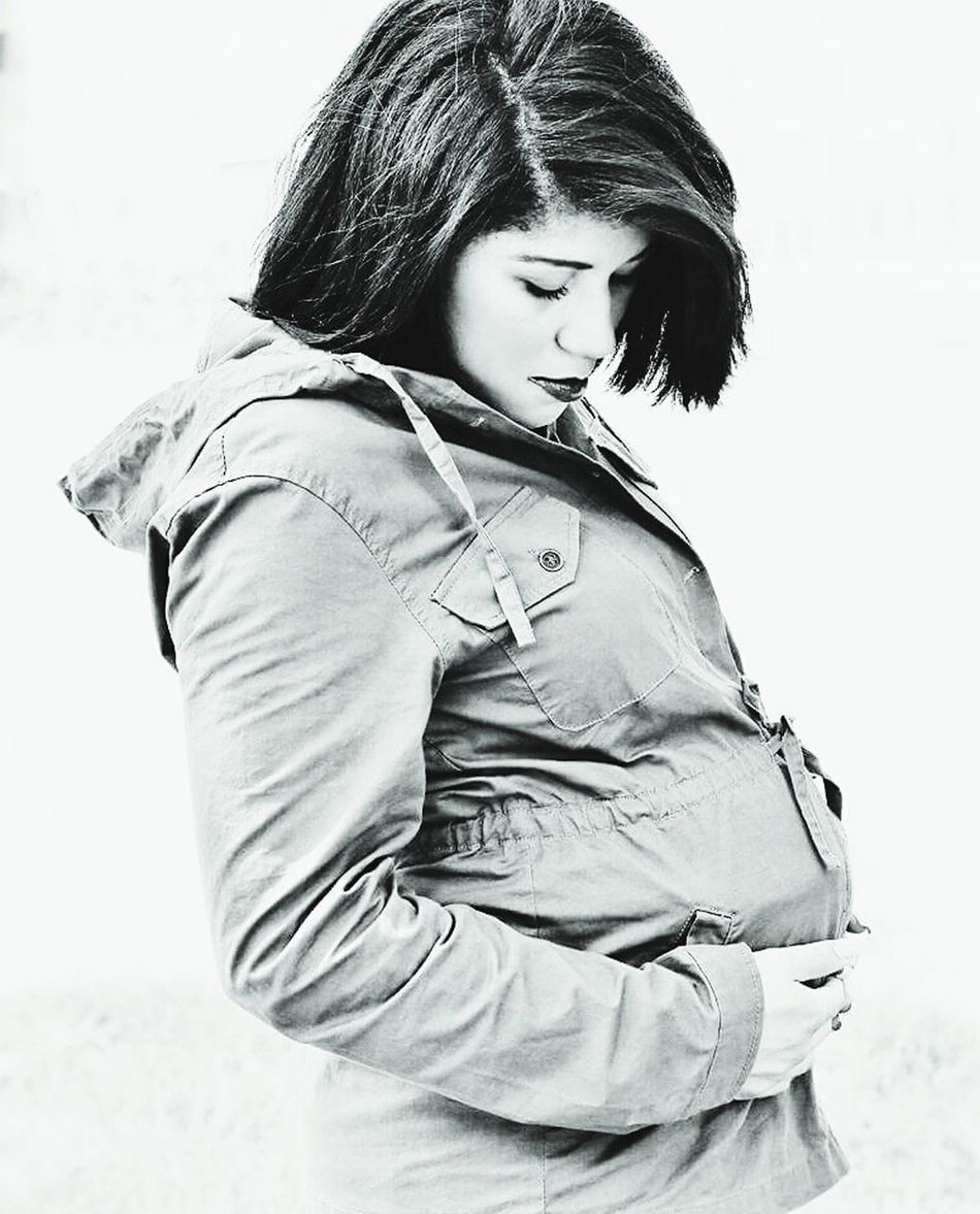 Young Adult Outdoors Jacket Becoming A Mommy Mother & Daughter Baby Pregnancy Black And White Young Mother Beautiful Nature Human Nature Jeymedia