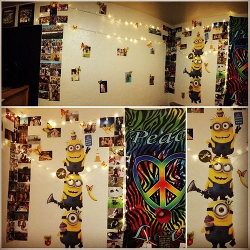 Finally I finished my room I got my Minions , Yellowbutterflies , and pictures of friends, family and loved one, watercolor paintings and string lights... I feel like home