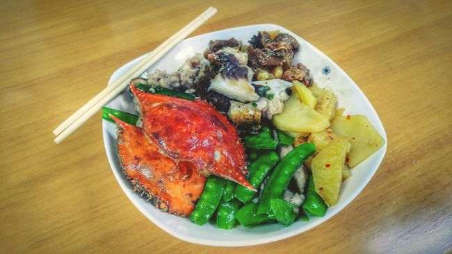 Plate Food Ready-to-eat Freshness Food And Drink Table Serving Size Healthy Eating Meal No People Indoors  Close-up Horizontal Day Lunch Chinese Food Crab Fish Healthy Chopsticks
