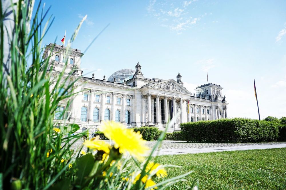 Sony A6000 Architecture Built Structure Flower Building Exterior Day History No People Travel Destinations Outdoors Plant Grass Sky Berlin Photography Berlin Landscape Beauty In Nature Architecture Focus On Foreground Flowerbed Reichstagskuppel Berlin Mitte Germany SonyAlpha6000