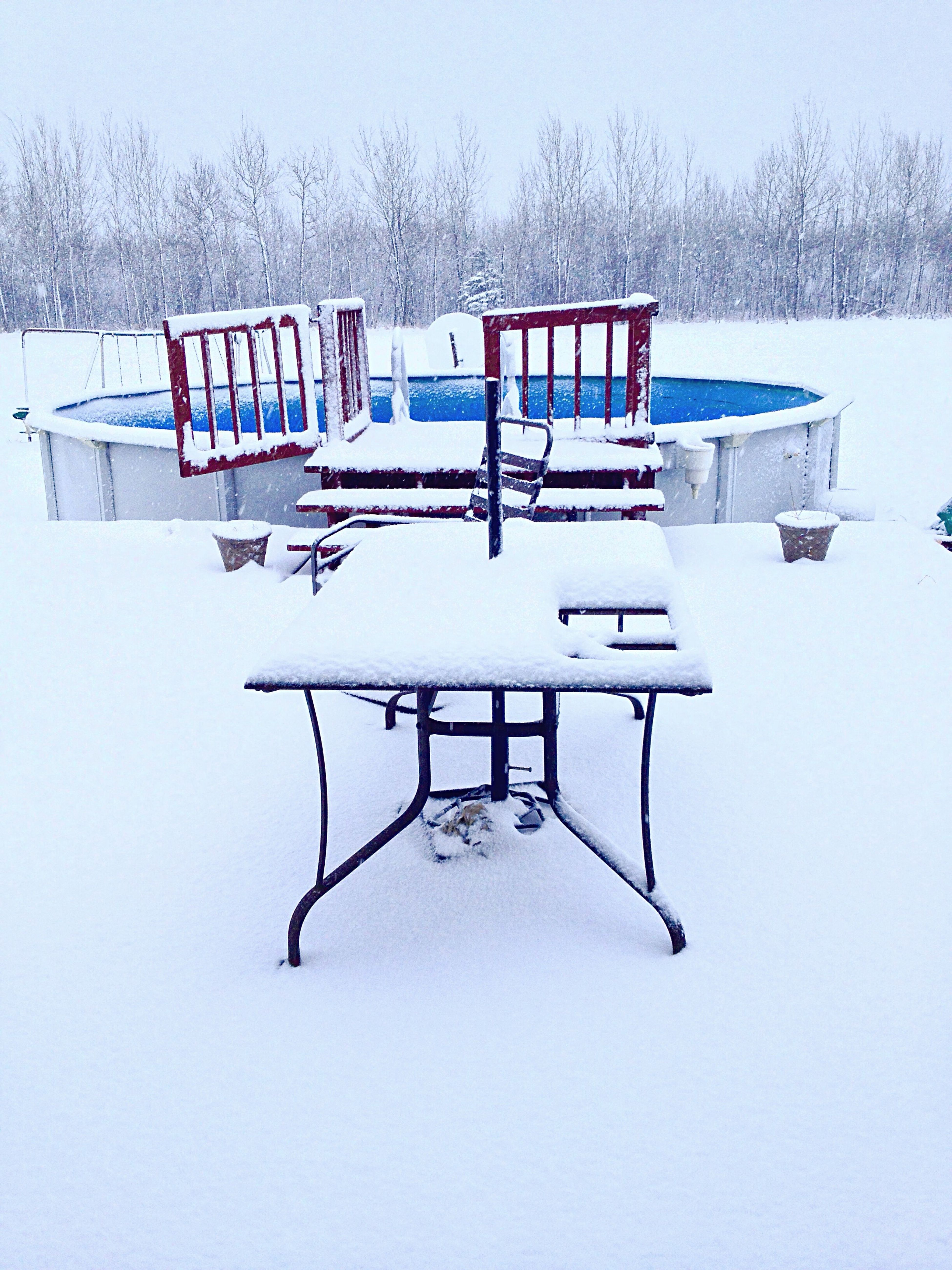 Just dreaming of warmth 🏖 Hurryupspring Snowy Country Swimmingpool Backdeck Myview Nomorewinterplease Iphone4