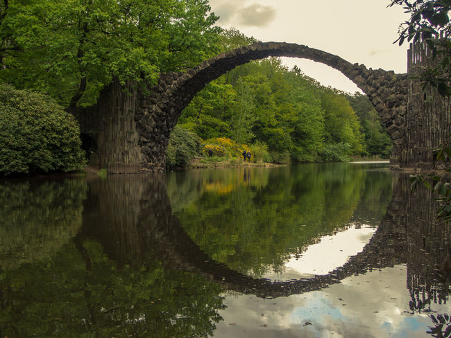 Arch Beauty In Nature Cloud Cloud - Sky Devilsbridge Green Color Growth Idyllic Lake Nature No People Non Urban Scene Non-urban Scene Outdoors Plant Rakotzbridge Reflection Remote Scenics Sky Standing Water Tranquil Scene Tranquility Tree Water