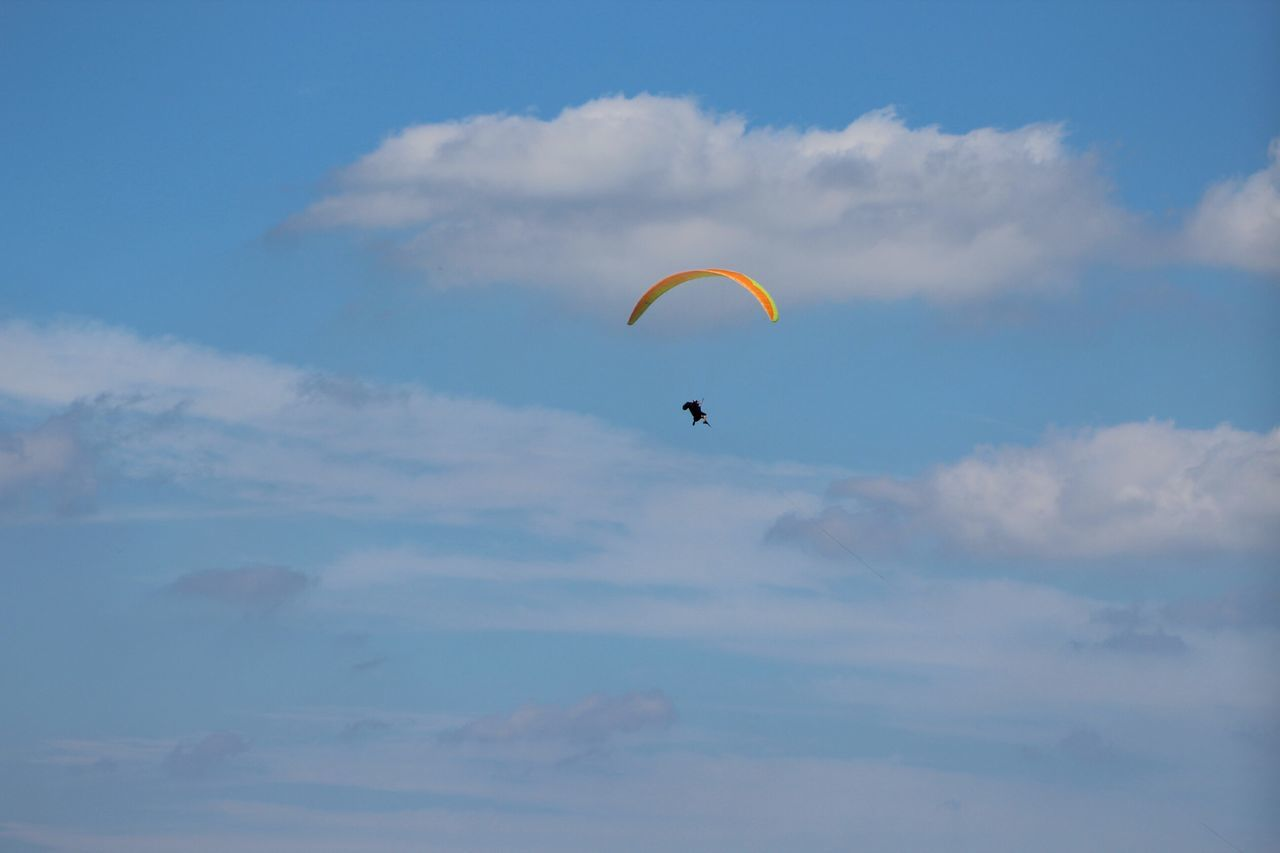 Flying Extreme Sports Mid-air Paragliding Gliding Exhilaration Sky Full Length Recreational Pursuit Multi Colored Parachute Leisure Activity Stunt Person Sports Activity Sports Helmet Outdoor Pursuit Motion Adventure Headwear Silhouette Sommergefühle Breathing Space
