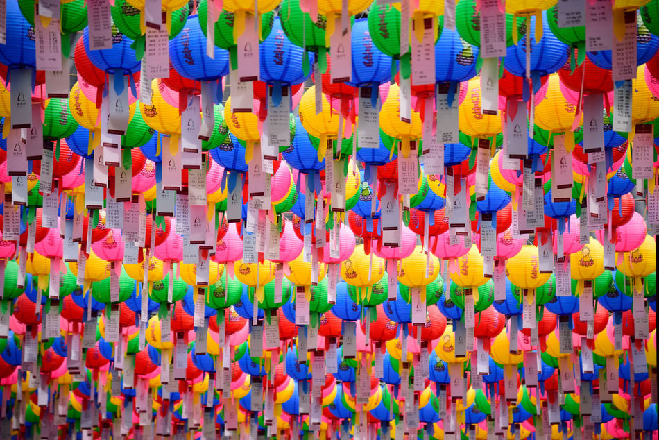 Abundance Backgrounds Buddha's Birthday Close-up Day Full Frame Hanging In A Row Large Group Of Objects Lotus Lantern Festival Multi Colored No People Seoul, Korea Variation Wishes