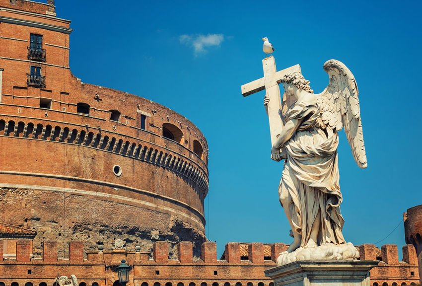 Saint Angel Castle and angel statue Architecture CASTEL SANT'ANGELO ROME Rome Rome, Italy Saint Angel Castle Statue Angel Art Cultures History Italy Religious  Rome Italy