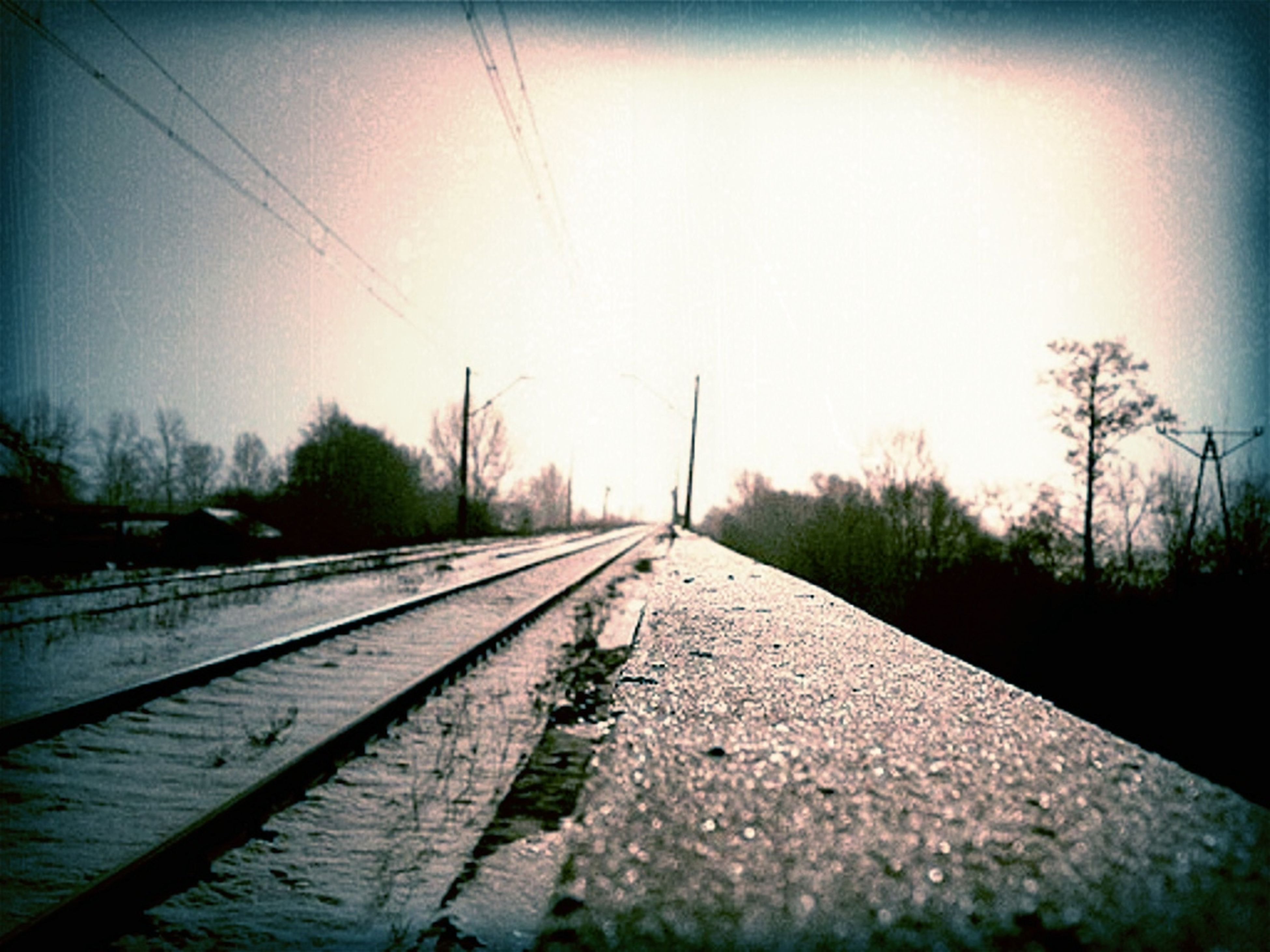 the way forward, railroad track, diminishing perspective, vanishing point, sky, clear sky, surface level, transportation, rail transportation, electricity pylon, long, power line, tranquility, tree, straight, tranquil scene, nature, connection, outdoors, landscape