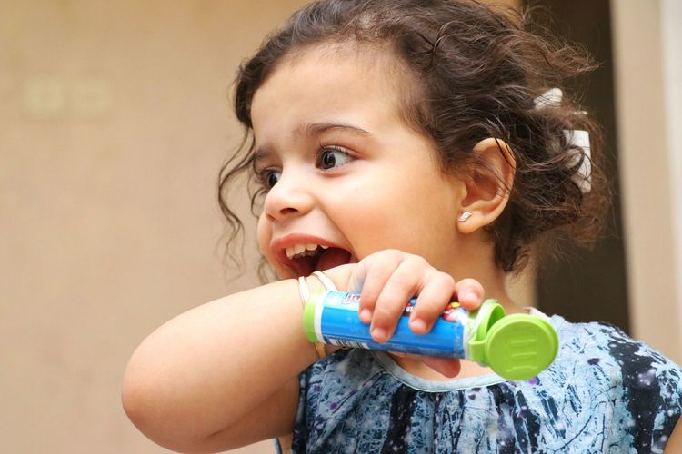 Girl Child Smile Shy Indoors  Portrait Headshot M&ms Cute Brunette