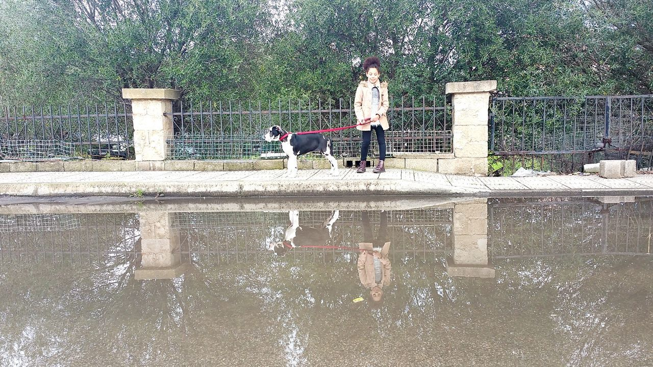 Girl Standing With Dog By Pond