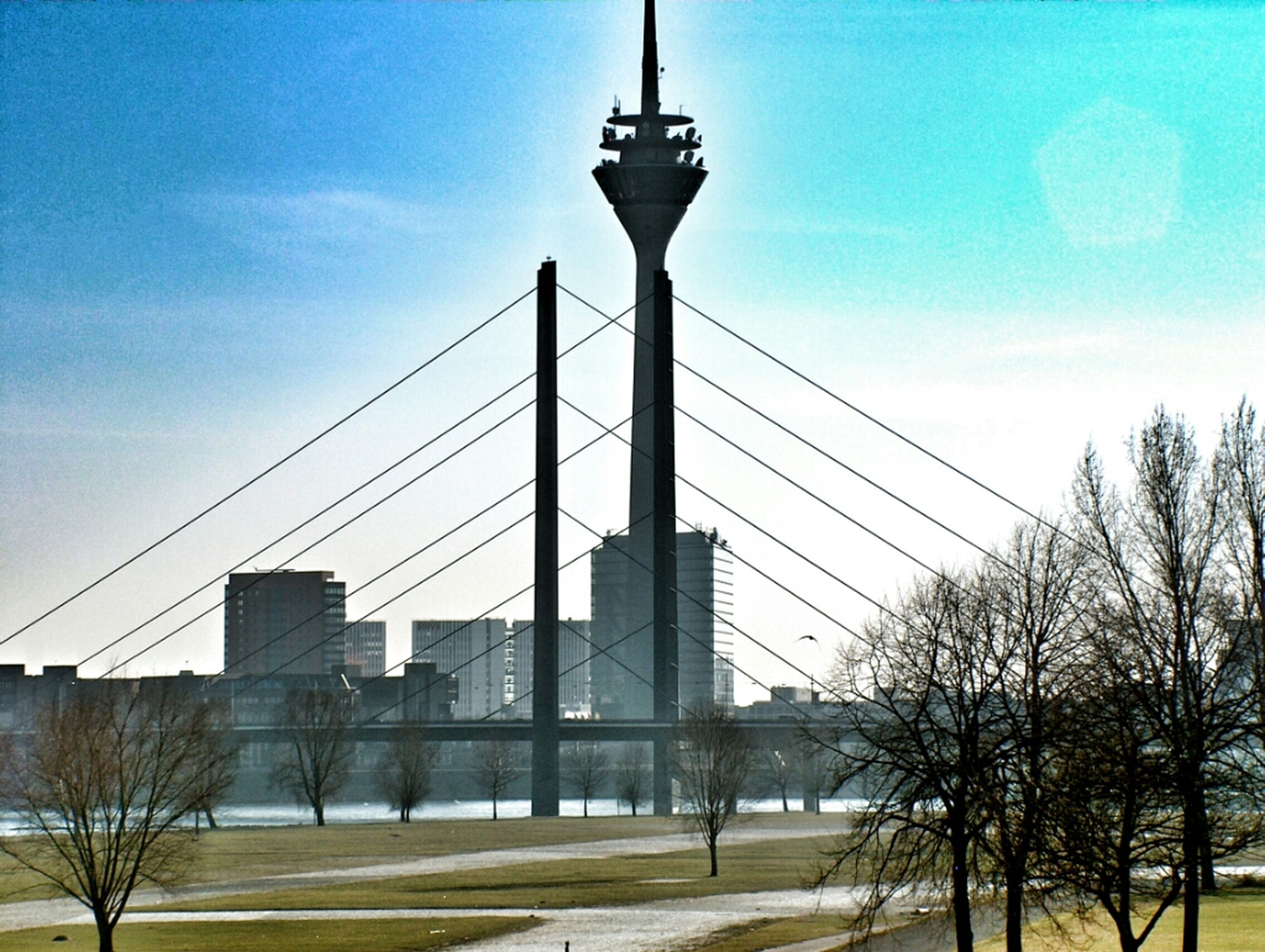 architecture, built structure, connection, sky, building exterior, low angle view, tower, city, tall - high, bridge - man made structure, communications tower, tree, street light, electricity pylon, travel destinations, engineering, cable, cloud, power line, electricity