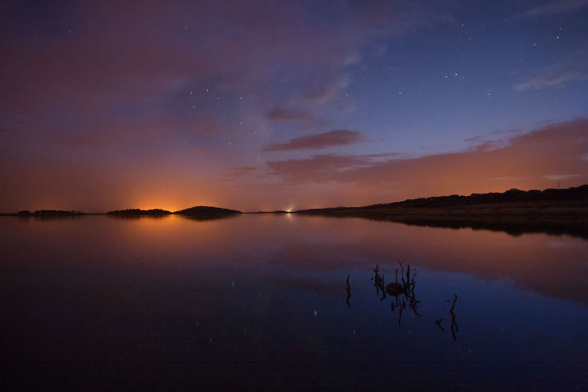 Astronomy Beauty In Nature Cloud - Sky Galaxy Lake Nature Night No People Outdoors Reflection Scenics Silhouette Sky Star - Space Sunset Tranquil Scene Tranquility Water