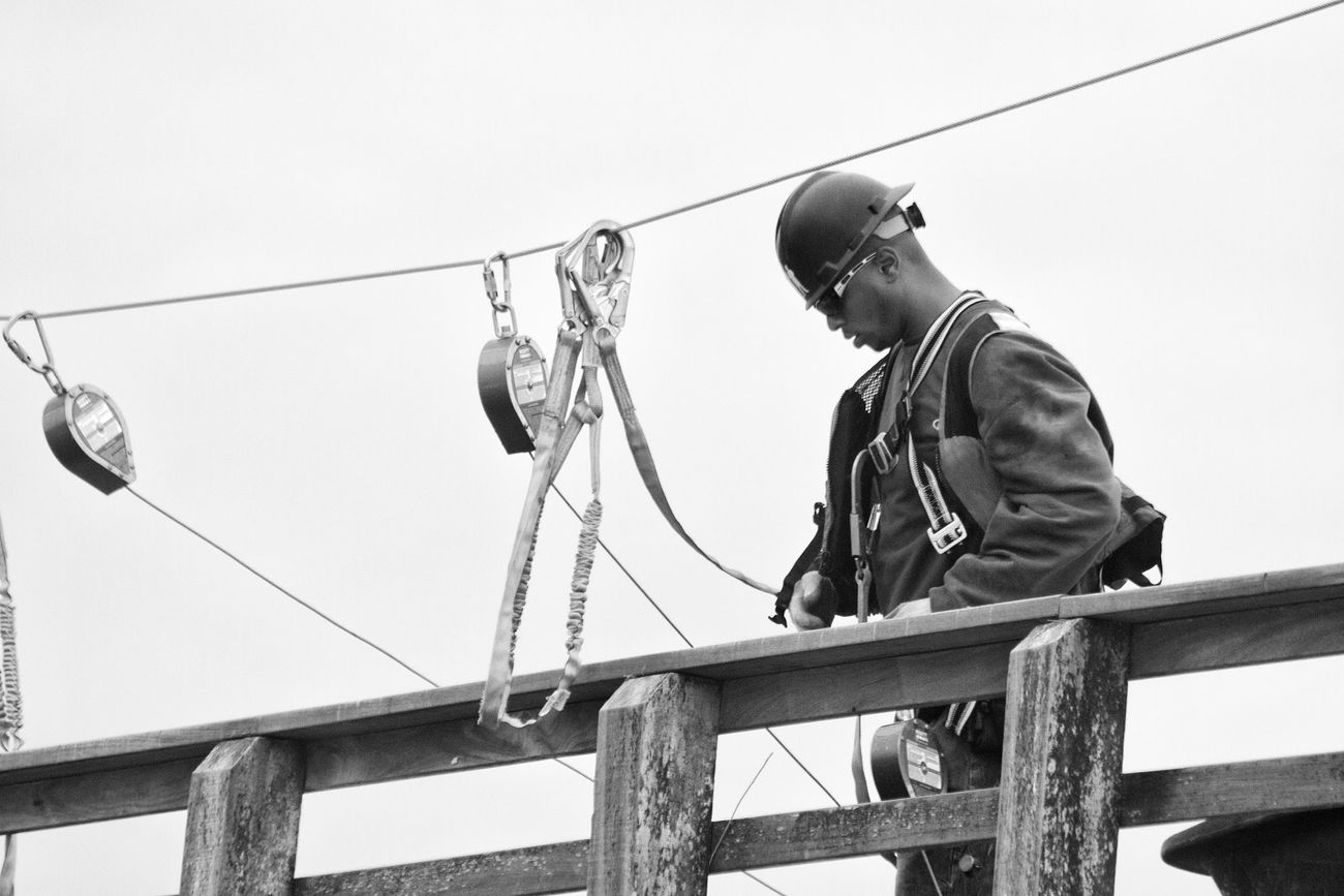 Coney Idland Pier. Pier Worker Construction Man Coney Island / Brooklyn NY Black & White Black&white Blackandwhite Monochrome Wires