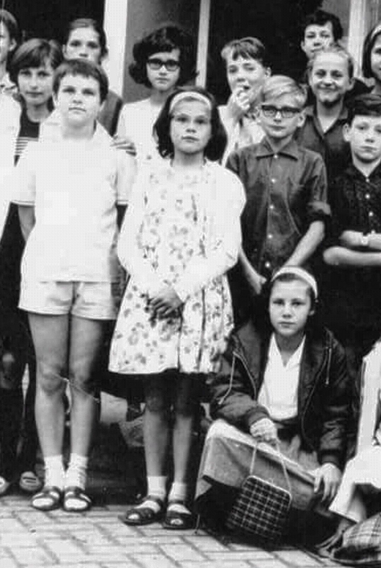 Back In Time Sixties Sixties Photo Sixties Style Old Pic  Boys Girls School Pic Retro Casual Clothing Childhood Archival People Standing Group Of People Large Group Of People Young Women Togetherness Child