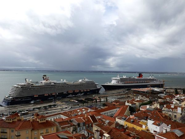 Cruise Liner Architecture Beauty In Nature Building Exterior Built Structure Cityscape Cloud - Sky Cruise Liner Day Horizon Over Water Lisboa Portugal Nature Nautical Vessel No People Outdoors Roof Scenics Sea Sky Tranquility Water