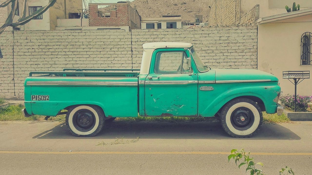 Ford 100 Ford F100 Pickup Truck American Vintage Pastel Pastel Power Turquoise Old Old School Vehicle Rusty Hard Work Suburban Nature Pavement Road Technology Car Cars Classic Cars Showcase March First Eyeem Photo