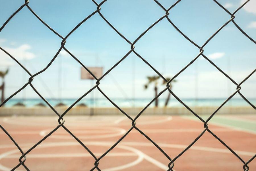 Nobody's playin' Open Edit Court Life Is A Beach Mediterranean  EyeEm Best Shots - Landscape Fence Sunny Day FujiX100T Basketball Beachside