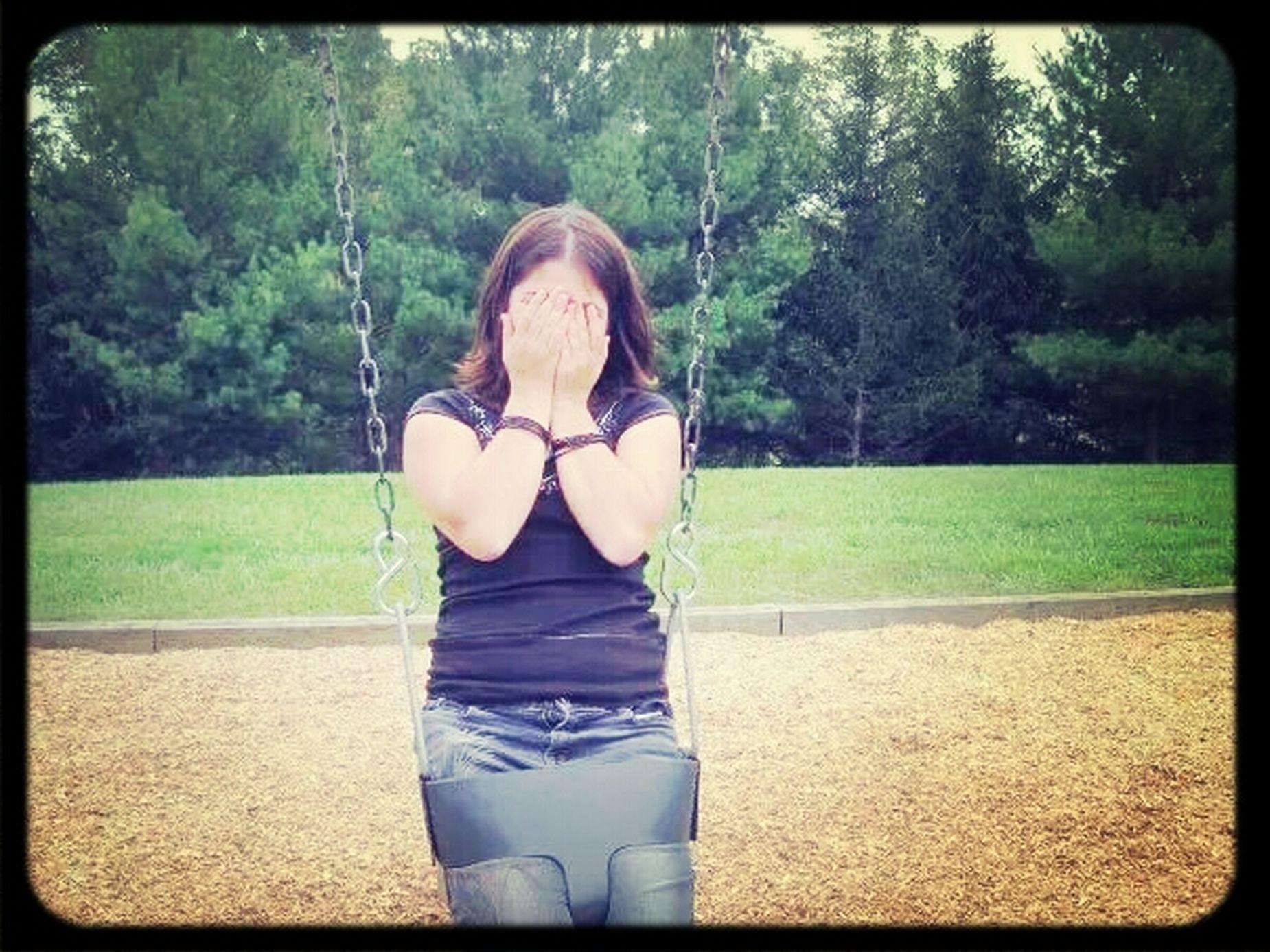 Memories ♡♥★♣ my friend got stuck in a baby swing ^-^