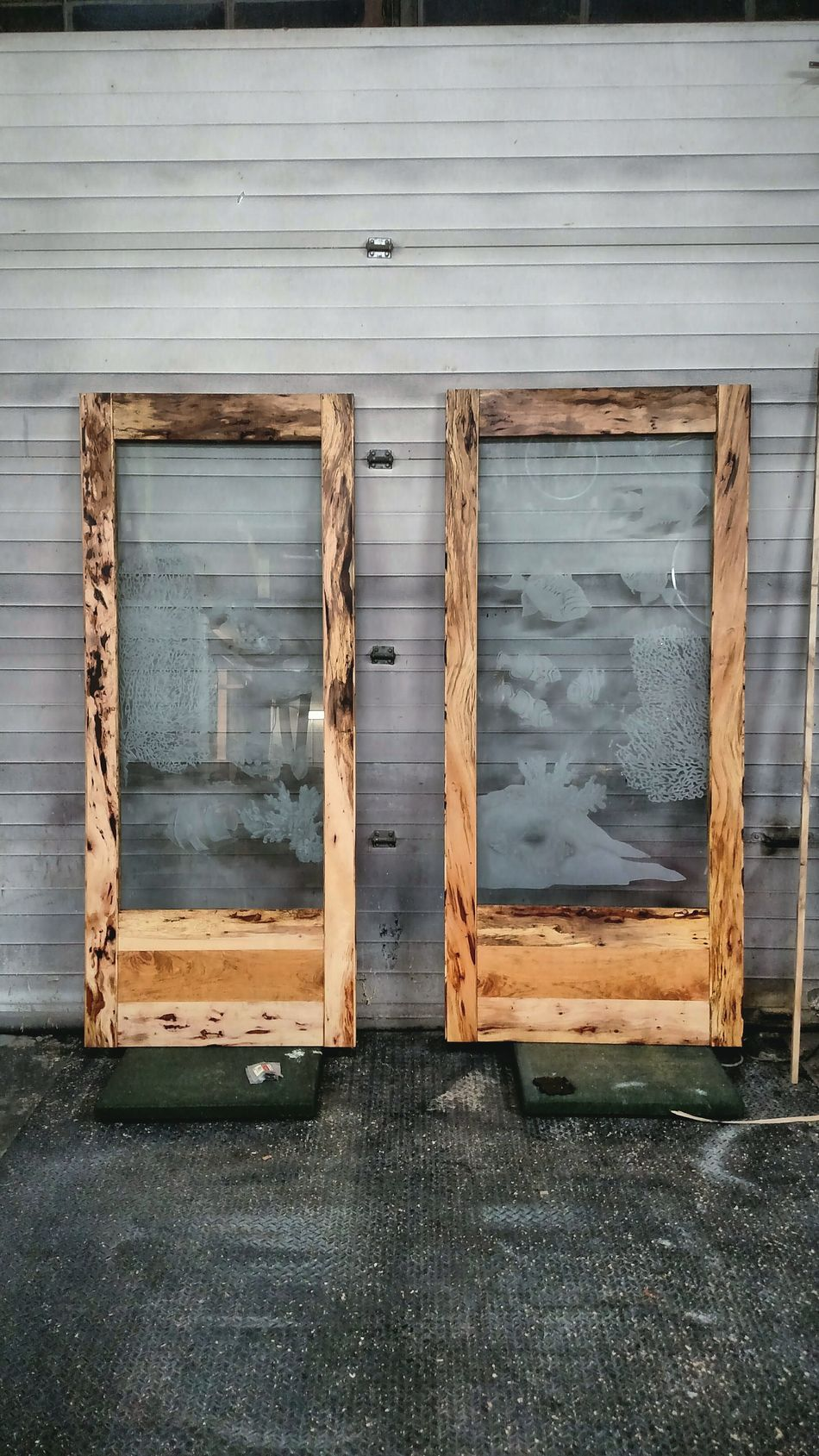 Two Is Better Than One Eyeemphoto Conference Room Double Doors Vintage Etched Glass Handcrafted by Matthew Merkle Spalted Pecan Wood - Material Woodworking Shop Commissioned Art Wood Grain Wooden Door WoodArt