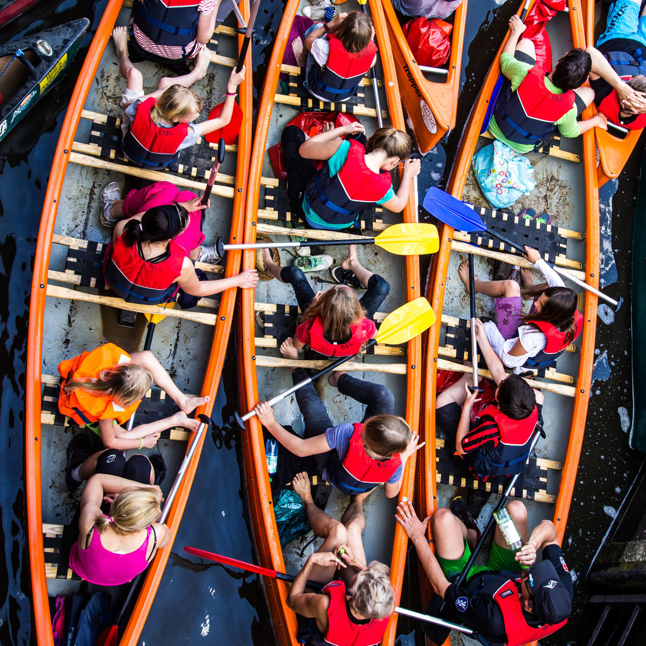 Canoes Day High Angle View Lahn River Multi Colored Outdoors People Sluice Sport