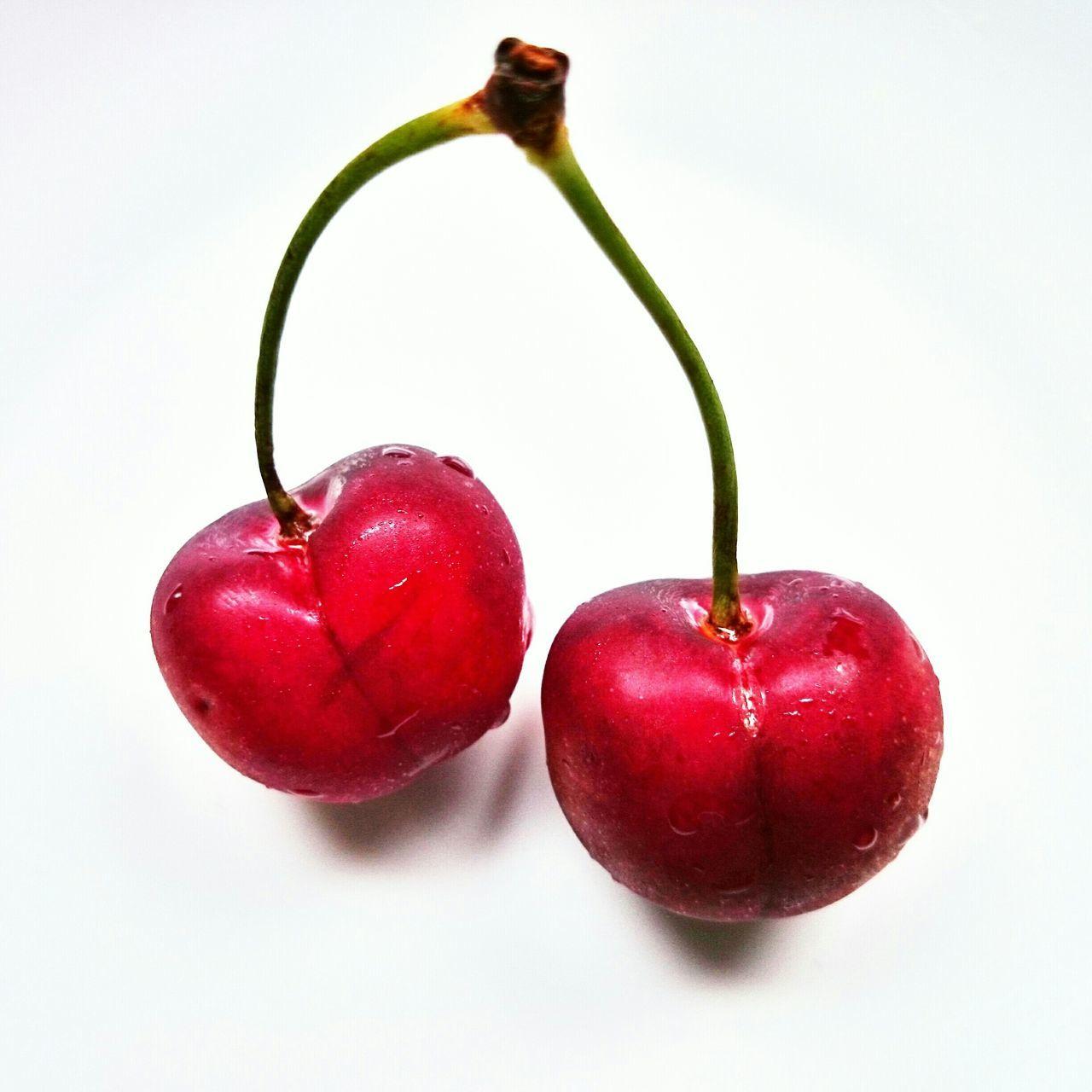 Cherry Cherries Redcherry White Contrast Cherryred Cherryshine
