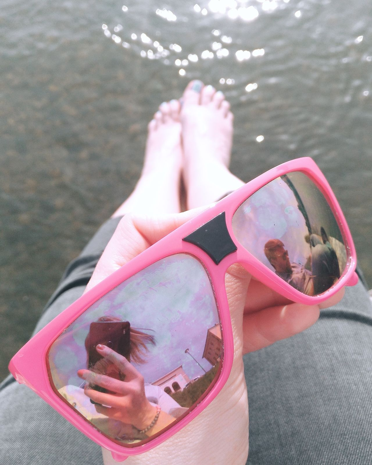Millennial Pink SelfEye Pink Feet Clouds And Sky Enjoying The Sun Mirror Sunglasses Sunglasses Reflection Girl Close-up People Women Around The World Moments Pink Color Water From Where I Stand Enjoying Life Sunglasses Selfie Couple Water Reflections Lens Flare Reflection Legs Selfie ✌ Long Goodbye