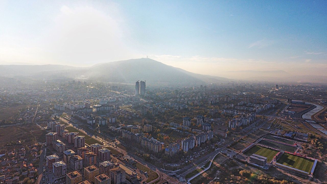 Skopje EyEmPaid Paidpromote Dronephotography Cityscape Architecture City Building Exterior High Angle View Aerial View Built Structure No People Skyscraper Mountain Outdoors Business Finance And Industry Urban Skyline Sky Modern Day Illuminated