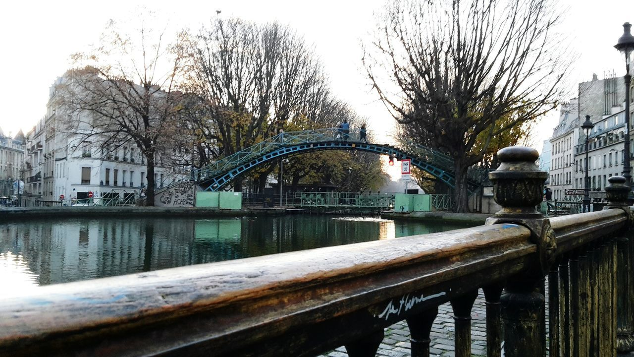 Canal Saint-Martin Bridge - Man Made Structure Cityscape Trees Water