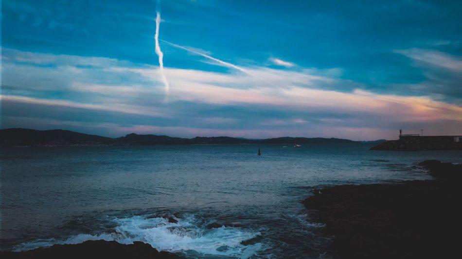 Sky Sea Beauty In Nature Nature Water Scenics Cloud - Sky Outdoors No People Tranquility Sunset Beach Blue Wave Day Contrail Nautical Vessel Horizon Over Water Sanxenxo Pontevedra Galicia España Puntavicaño