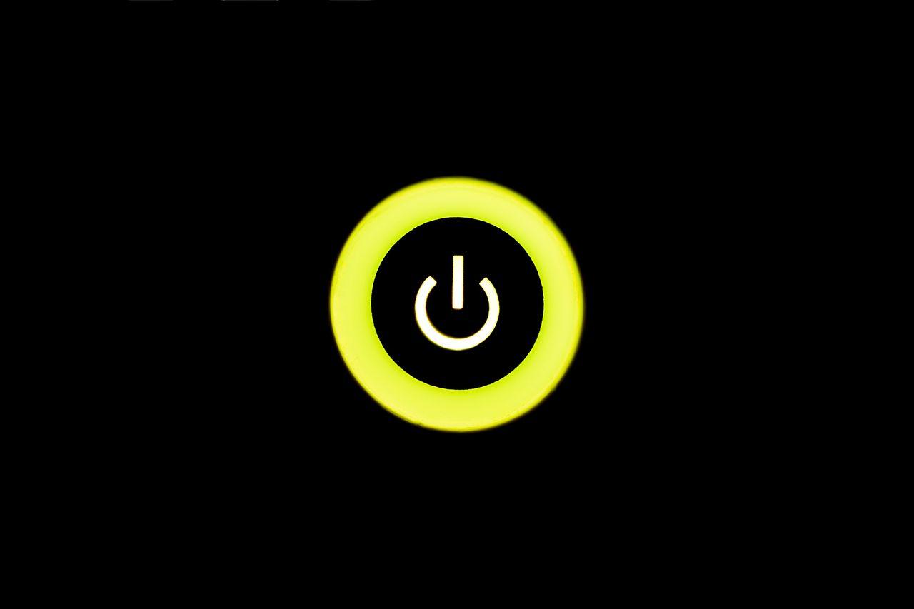 Power on! - Illuminated Yellow No People Black Background Close-up Close Up Technology Communication Power On Button Push The Button Symbol Consumerism First Eyeem Photo Hello World Taking Photos Technology Startup Sign Signal Light Up Modern Illumination Light Simplicity