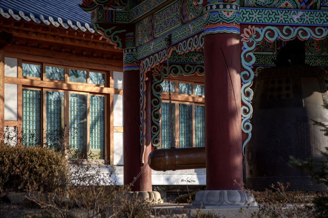 Architecture Bell Buddhism Buddhist Temple Building Building Exterior Built Structure Closed Culture Door Flooring Glass Glass - Material Historic History Home Interior Indoors  Korea Traditional Architecture Modern Ornate Religion Transparent Wall Window