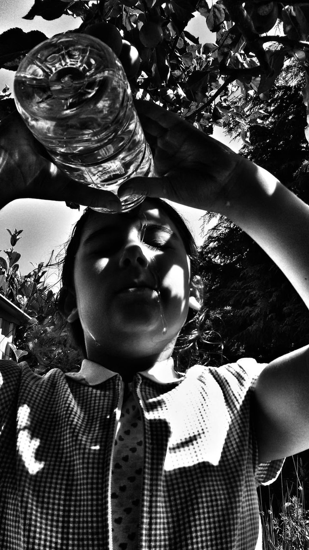 Girl pouring/refreshing face with water. Face Faces Of Summer One Girl Only Child Childhood Real People Close-up Summer Bottle Closeup Black And White Photography Monochrome Monochromatic Expression Portrait