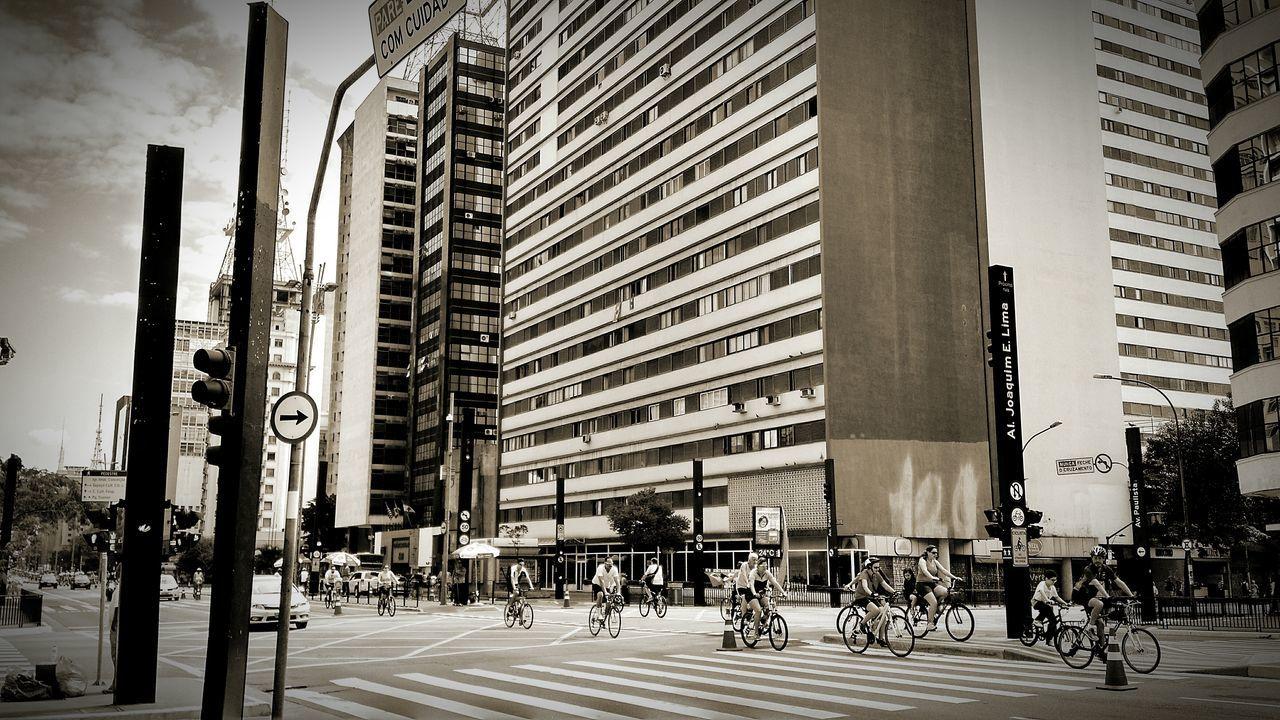 City Outdoors Skyscraper Architecture People Bikers Biketour Peopleridingbikes Moto X G2 Paulista Avenue EyeEm Best Shots EyeEm SmartPhone Smartphonephotography EyeEm Monochrome Photography Streetphotography